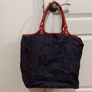 Tory Burch Bags - Tory Burch denim tote bag W/ red leather accents